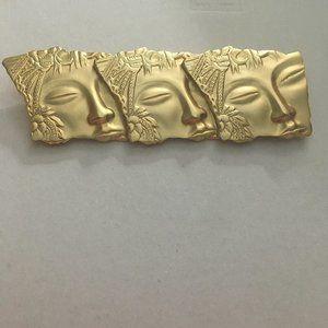 JJ Three Faced Geisha Girl brooch